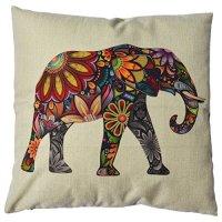 "Generic Linen Cute Elephant Cotton Decorative Throw Pillow Case Cushion Cover, 18"" x 18"""