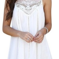 FUNOC® Women Lace Sleeveless Long Tops Blouse Shirt Beach BOHO Short Mini Dress