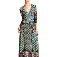 On Trend Women's Paris Bohemian 3/4 Sleeve Long Maxi Dress