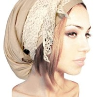 Boho Chic Taupe Artisan Head-scarf Tichel Embellished with Lace and Handmade Coconut Buttons