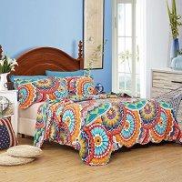 LELVA Colorful Bohemian Bedspreads Set Floral Print Boho Patchwork Quilt Set 3 Pcs Coverlets Set (1)