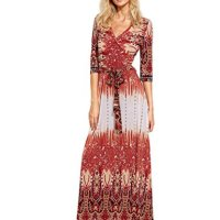 Milumia Women's Bohemian 3/4 Sleeve Faux Wrap Maxi Dress