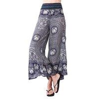 Rita & Risa Women's Hippie Elephants Boho Design Loose Style Palazzo Pants
