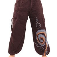 Jing Shop Harem Balloon Pants Swirl Hippie Boho Design Cotton One Size