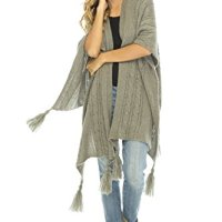 Back From Bali Womens Cable Knit Wrap Shawl Poncho Sweater Soft Tassel Fringe