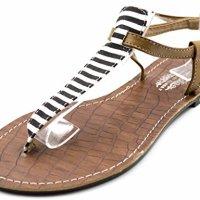 Charles Albert Women's T Strap Ankle Strap Sandal Flip Flop