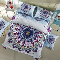 LELVA Bohemian Bedding Set Boho Style Bedding Duvet Cover Set Cotton Mandala Bedding Flat / Fitted Sheet Set 4pc (Full - Flat Sheet, 2)