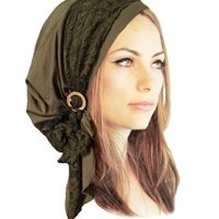 Olive Green Boho Chic Pre-Tied Head Scarf Gorgeous Lace Wrap Coconut Buckles - 131