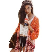 Gillberry Women Boho Printed Chiffon Shawl Kimono Cardigan Tops Cover up Blouse