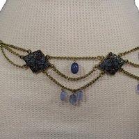 TFJ Women Fashion Belt Hip Waist Rusty Gold Metal Chaain Flower Charms S M L Blue