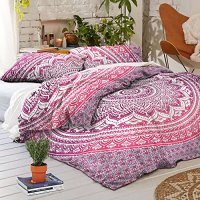 Exclusive Pink Purple Ombra Duvet Cover By Madhu International, Bohemian Bedding Comforter Cover, Indian Mandala Bedspread