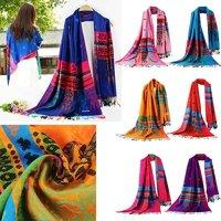 Sunward Women Lady Double Sided National Style Large Long Scarf Shawl Pashmina