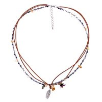 ZLYC Women Handmade Metal Agate Beaded Leather Cord Three Layers Necklace with Charms