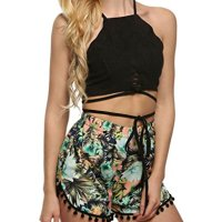 Appcome Women's Cut Out Self-tie Backless Spaghetti Straps Halterneck Crop Tops