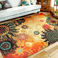 "EUCH Contemporary Boho Retro Style Abstract Living Room Floor Carpets,Non-Skid Indoor/ Outdoor Large Area Rugs,20""x31"" Lotus"