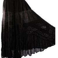 Women's Boho Gypsy Embroidered Long Broom Skirt, One Size