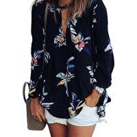 ZXZY Women Bohemian Floral Print Shirts and Blouses BLACK CHIFFON BLOUSE