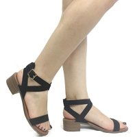 Women's Ankle Wrap Adjustable Buckle Stacked Chunky Heel Gladiator Summer Sandal