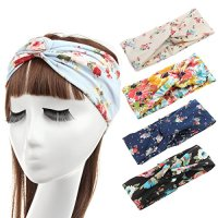 Lanzom 4 Pieces Women Headband Boho Floal Style Criss Cross Head Wrap Hair Band