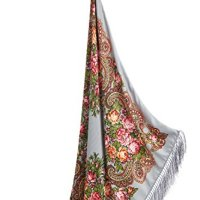 "Ladies Tassel Shawl With Flowers Ukrainian Polish Russian Square Scarf 38"" x 38"""