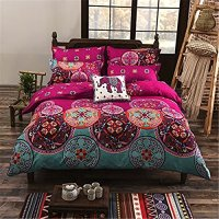 Auvoau Boho Bedding Set Lightweight Polyester microfiber Duvet Cover Set, Print Floral Design Bohemian Style Bedding Set,Twin Full Queen King Size (Twin, 1)