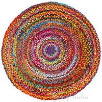 EYES OF INDIA - 4 Ft Round Colorful Woven Chindi Decorative Rag Rug Indian Bohemian Boho