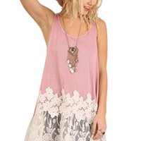Umgee USA Embroidered Lace Sleeveless Long Tunic Tank Top Boho Hippie Gypsy (S-Plus Size)