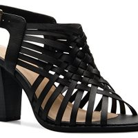 OLIVIA K Women's Strappy Woven Wedge Sandals - Open Toe Buckle Heel - Comfort, Fasionable, Casual Style