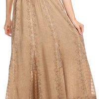Sakkas Monola Long Tall Lace Embroidered Paneled Adjustable Waist Flare Skirt