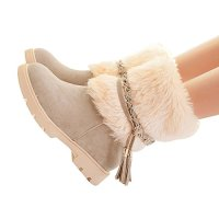 Susanny Women's Fashion Warm Short Booties Outdoor Suede Flat Waterproof Faux Fur Snow Boots