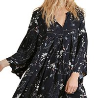 Umgee USA 3/4 Sleeve Floral Print Boho Vintage Peasant Gypsy Casual Summer Tunic Top Dress