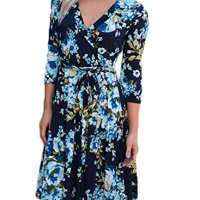 Bulawoo Women's Sexy Blossom Strappy V Neck Above Knee Printed Wrap Floral Boho Dress