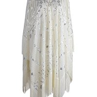Anna-Kaci Womens Oversized Hand Beaded and Sequin Evening Shawl Wrap with Fringe