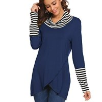 Halife Women's Cowl Neck Draped Striped Stitching Long Sleeve Layered Top