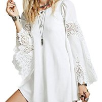 MAYSIKA Women's Bell Sleeve Crochet Floral Lace Chiffon Loose Boho Tunic Dress