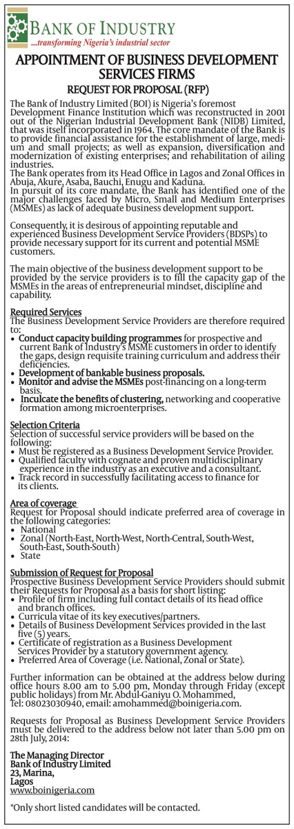 Appointment Of Business Development Services Firms Request For
