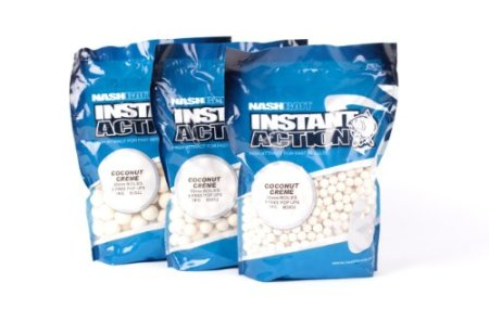 Nash Instant Action Boilies 1kg 10mm Coconut Crème + 5 Gratis Pop Ups Boilie Boilies Karpfenköder - 1