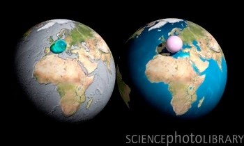 all the water and air on earth gathered into spheres and compared to