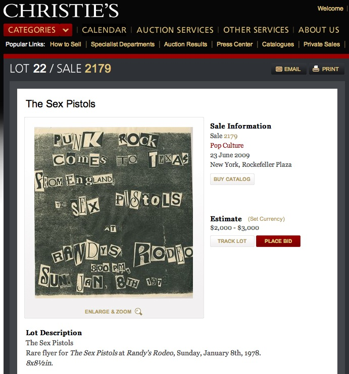1978 Sex Pistols poster up for auction at Christie's is a fraud?