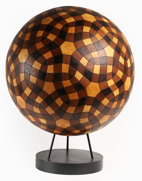 Exploded propellorized truncated wooden icosahedron