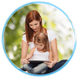Mom and daughter on tablet device