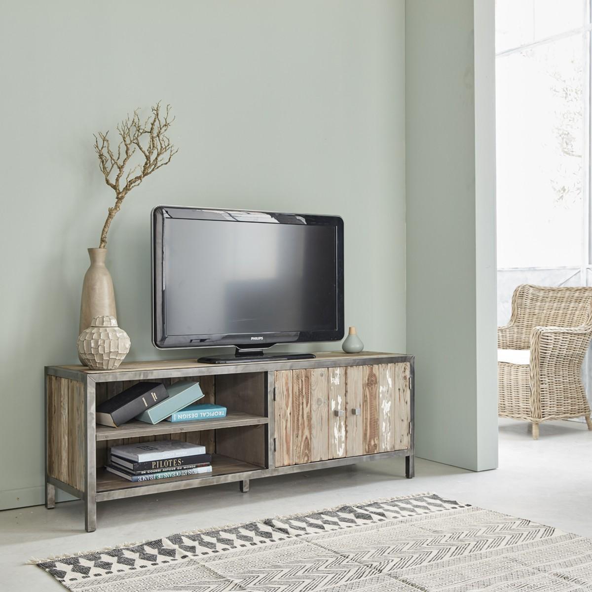 meuble tv en bois de pin recycle et metal 150 indus