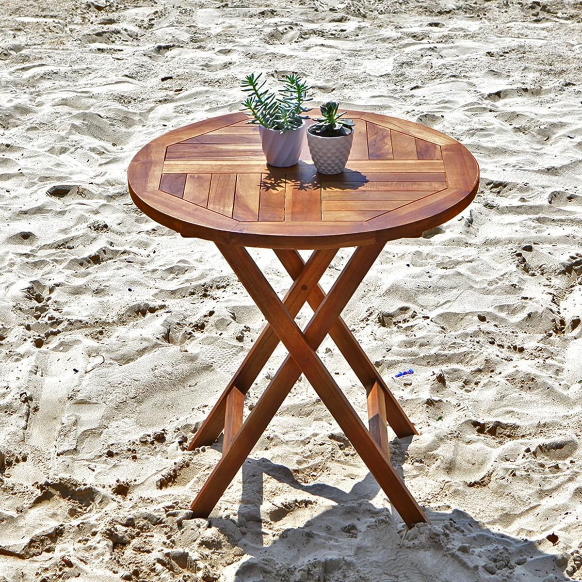 table de jardin ronde pliante en teck huile bali