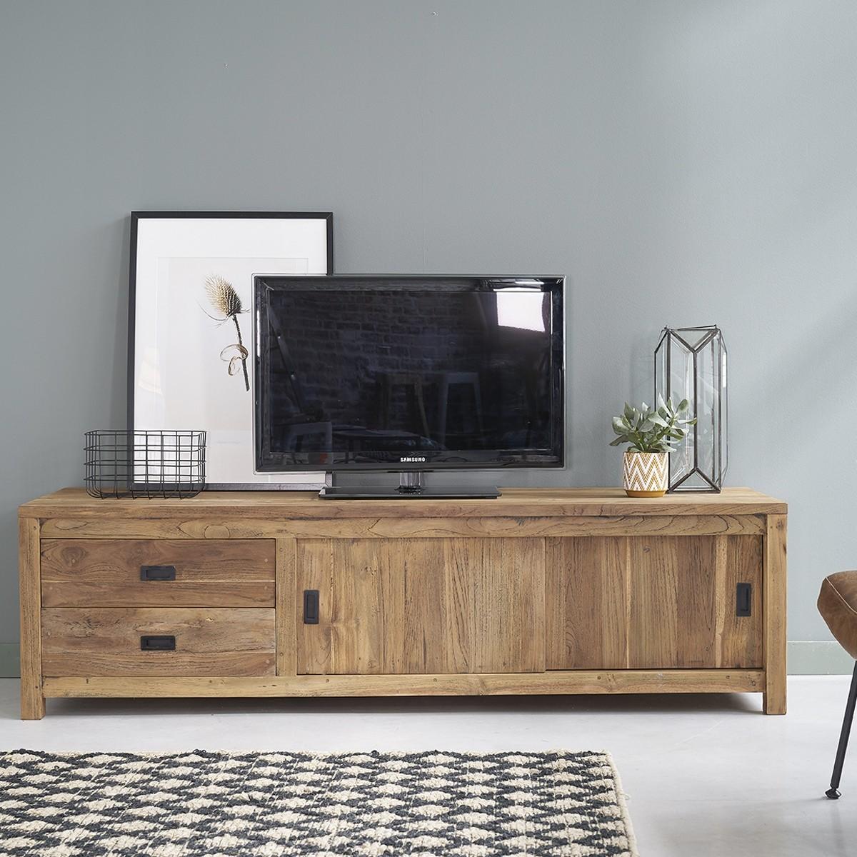meuble tv en bois de teck recycle 180 cargo
