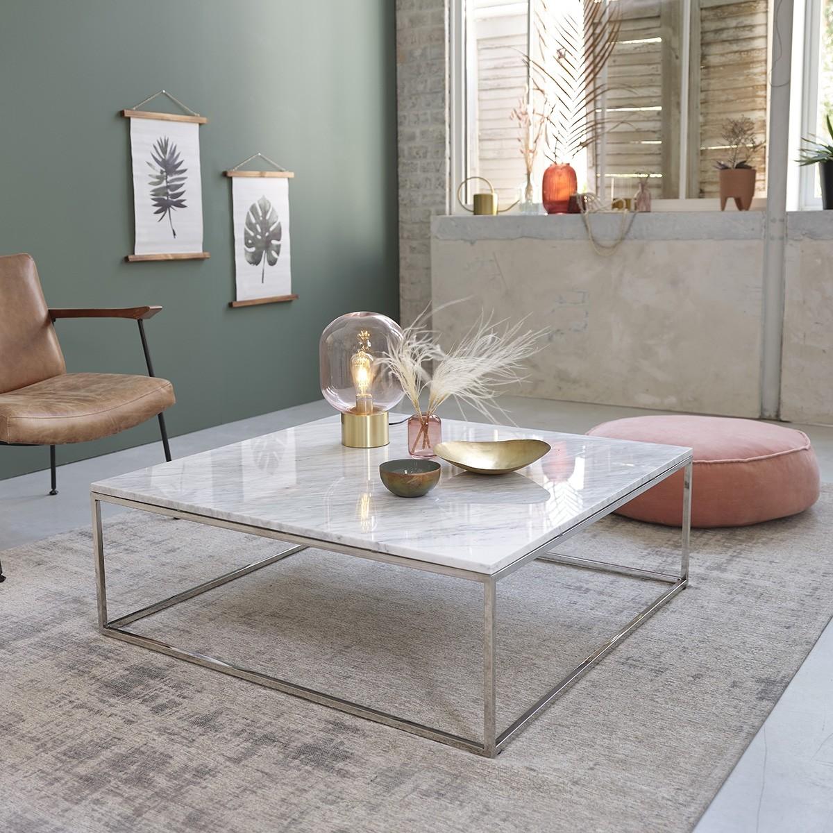 table basse carree en marbre blanc et metal 100