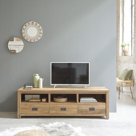 meuble tv en bois de teck recycle 160