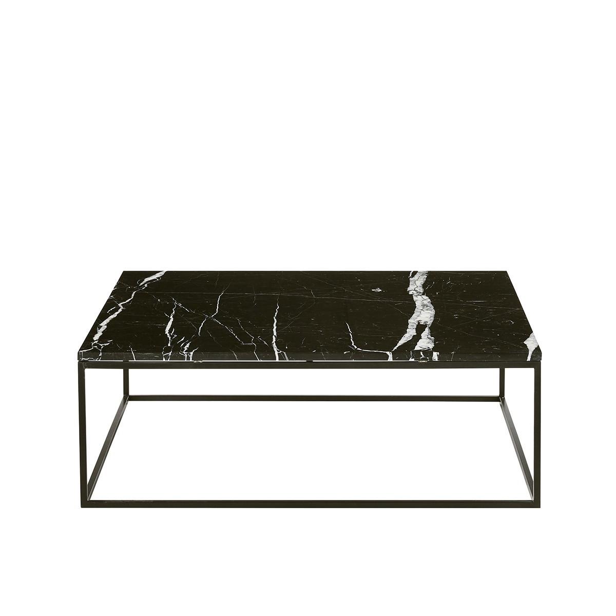 table basse carree en marbre noir et metal 100