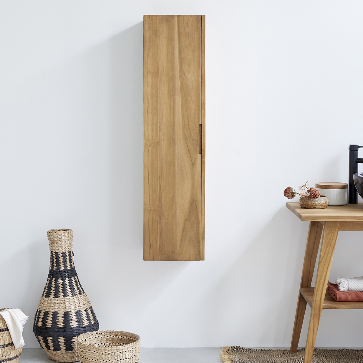 colonne de salle de bain suspendue en bois de teck 120