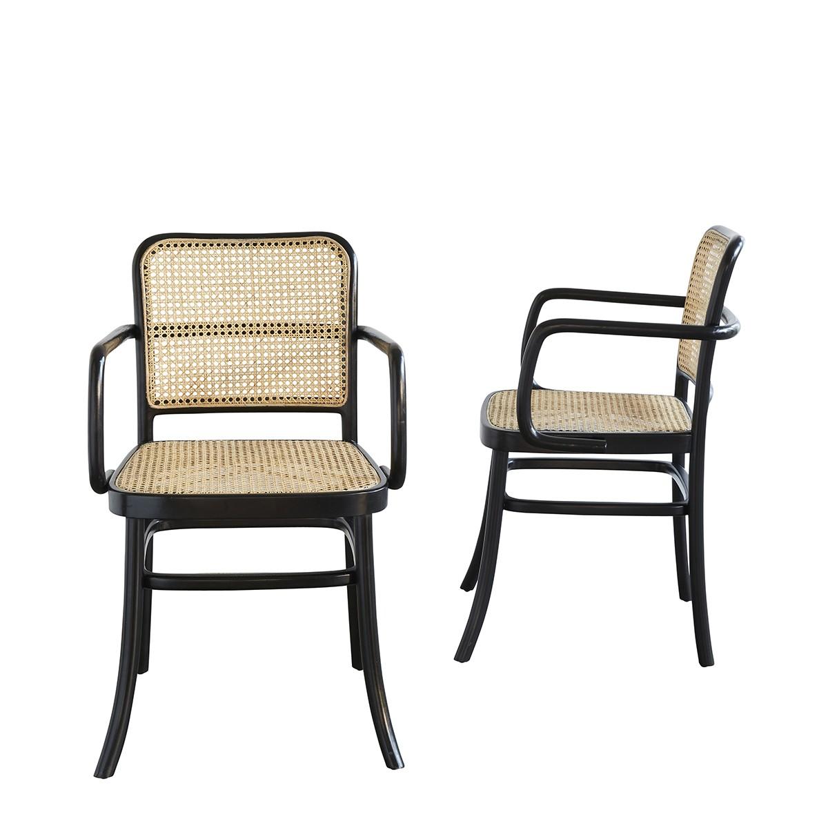 lot de 2 chaises avec accoudoirs en bois d acajou et cannage hana