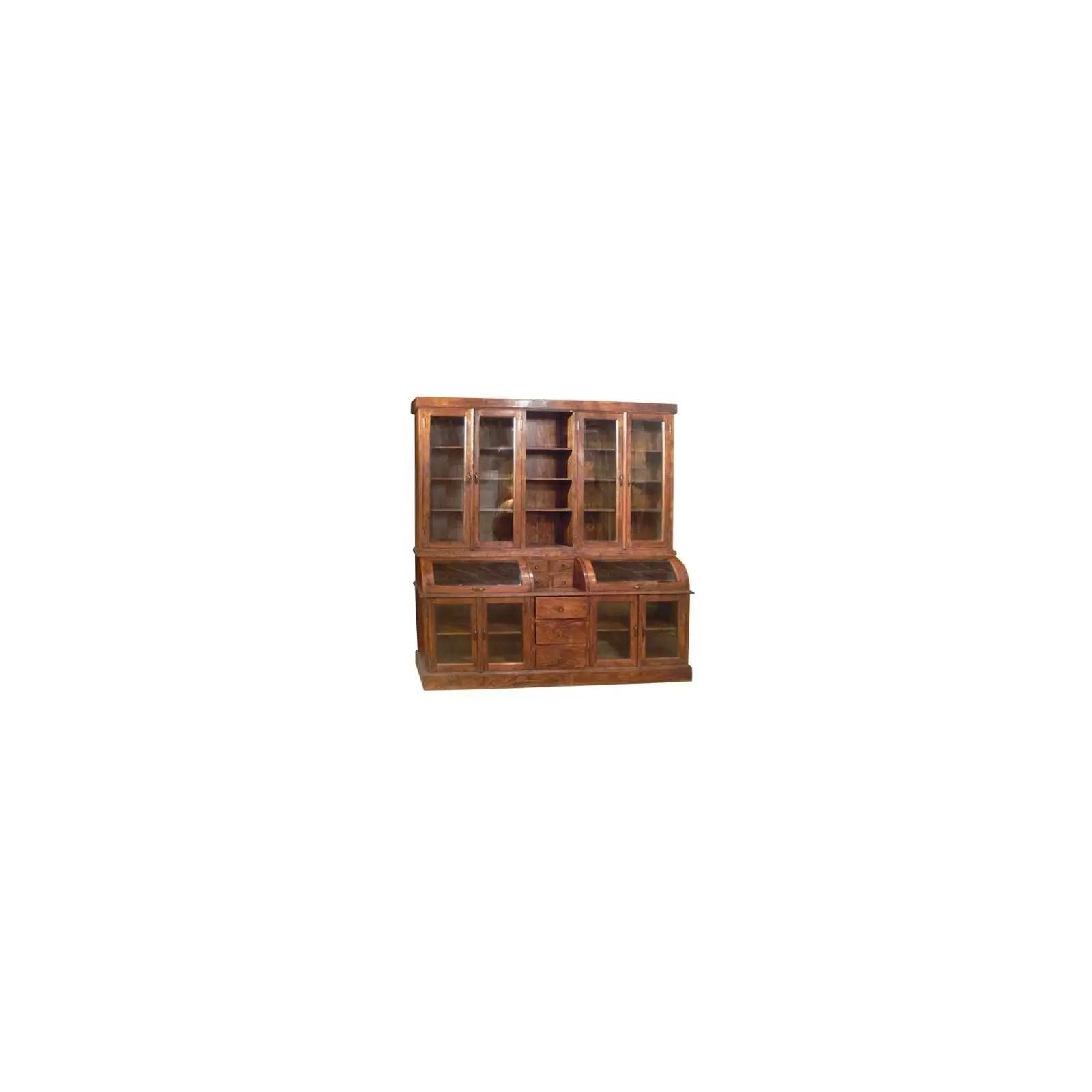 bibliotheque vitrine cara petit modele 2 corps en bois d acacia massif ethnique chic